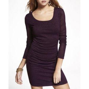 Express Mesh Long Sleeve Metallic Sweater Dress